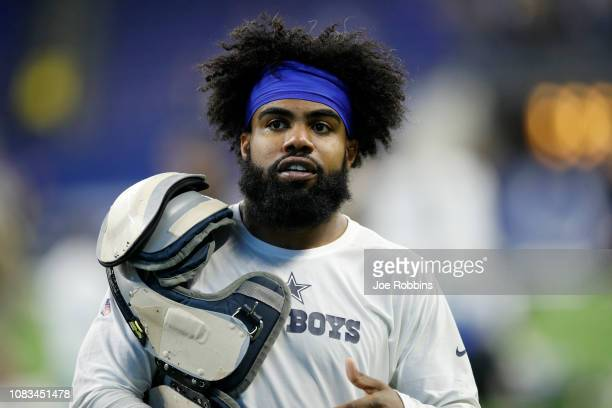 Ezekiel Elliot of the Dallas Cowboys walks off the field after a loss to the Indianapolis Colts at Lucas Oil Stadium on December 16 2018 in...