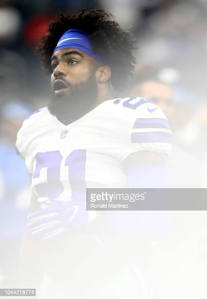 Ezekiel Elliott of the Dallas Cowboys at ATT Stadium on September 30 2018 in Arlington Texas