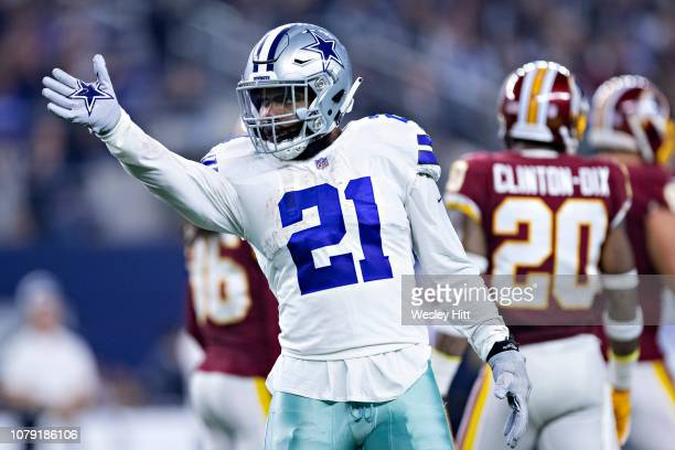 Ezekiel Elliott of the Dallas Cowboys celebrates after making a first down during a game against the Washington Redskins at ATT Stadium on November...
