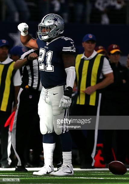 Ezekiel Elliott of the Dallas Cowboys celebrates after running for a first down during the first quarter against the Washington Redskins at ATT...