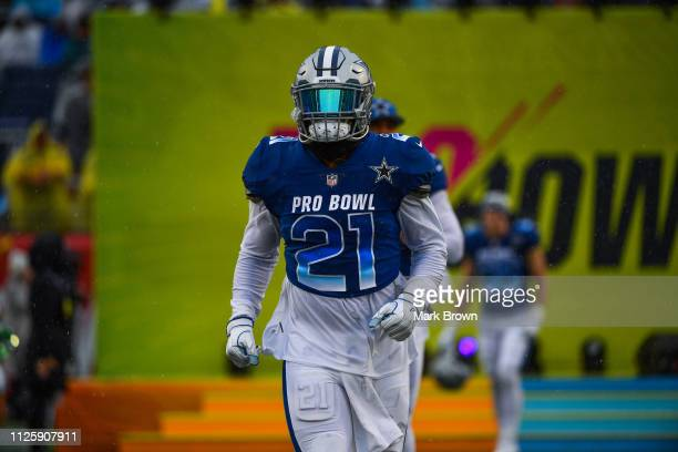 Ezekiel Elliott of the Dallas Cowboys gets introduced before the 2019 NFL Pro Bowl at Camping World Stadium on January 27 2019 in Orlando Florida