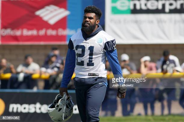 Ezekiel Elliott of the Dallas Cowboys is seen during afternoon practice on July 25 2017 in Oxnard California