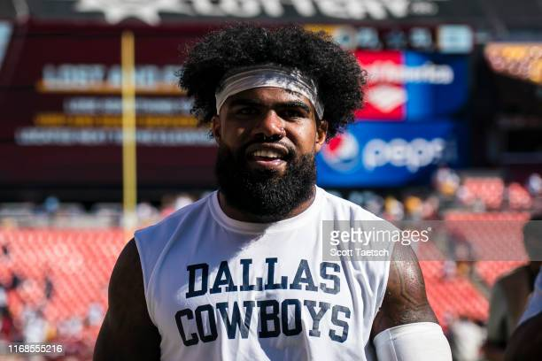Ezekiel Elliott of the Dallas Cowboys leaves the field after the game against the Washington Redskins at FedExField on September 15 2019 in Landover...