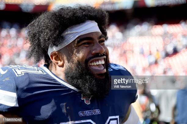 Ezekiel Elliott of the Dallas Cowboys looks on after the game against the Washington Redskins at FedExField on September 15 2019 in Landover Maryland