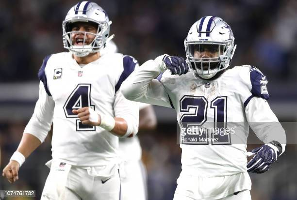 Ezekiel Elliott of the Dallas Cowboys reacts after running for a first down with Dak Prescott in the fourth quarter against the New Orleans Saints at...