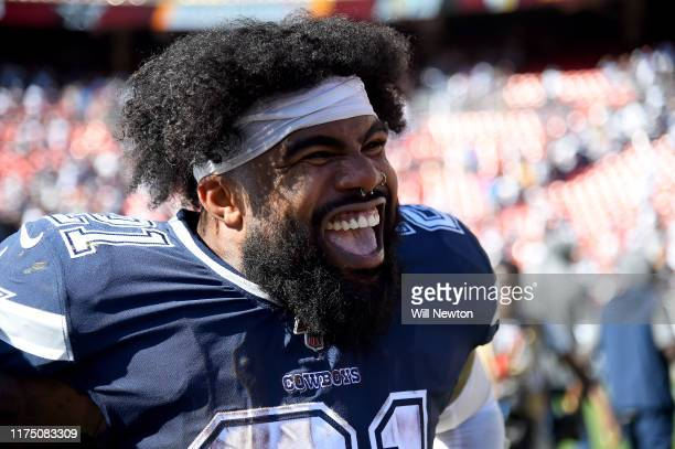 Ezekiel Elliott of the Dallas Cowboys reacts after the game against the Washington Redskins at FedExField on September 15 2019 in Landover Maryland