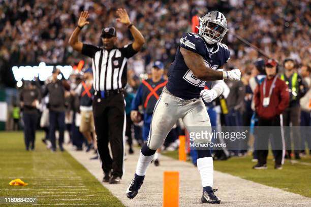 Ezekiel Elliott of the Dallas Cowboys reacts during the fourth quarter of their game against the New York Jets at MetLife Stadium on October 13 2019...