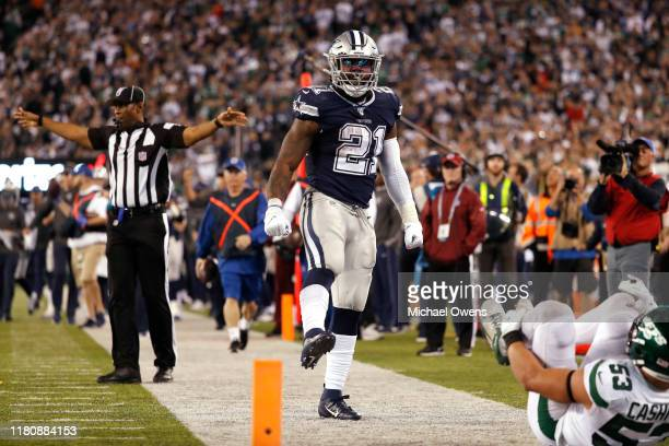 Ezekiel Elliott of the Dallas Cowboys reacts during the fourth quarter against the New York Jets at MetLife Stadium on October 13 2019 in East...