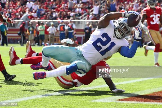 Ezekiel Elliott of the Dallas Cowboys scores his second touchdown against the San Francisco 49ers during their NFL game at Levi's Stadium on October...