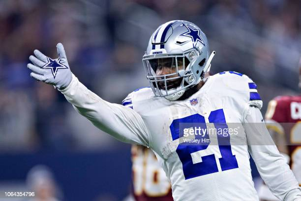 Ezekiel Elliott of the Dallas Cowboys signals first down in the second half of a game against the Washington Redskins at ATT Stadium on November 22...