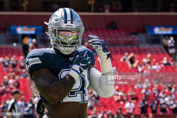 Ezekiel Elliott of the Dallas Cowboys warmsup before the game against the Washington Redskins at FedExField on September 15 2019 in Landover Maryland