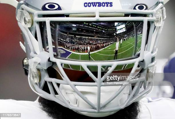 Ezekiel Elliott of the Dallas Cowboys works through pregame warm ups before taking on the Miami Dolphins at AT&T Stadium on September 22, 2019 in...