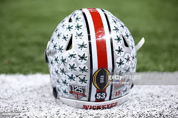 Ezekiel Elliott of the Ohio State Buckeye helmet is seen on the sidelines prior to the start of the game during the All State Sugar Bowl at the...
