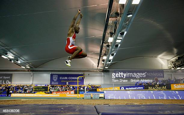 Ezekiel Ewulo of Great Britan in action in the mens long jump during day 1 of the Sainsbury's Indoor British Championships at the English Institute...
