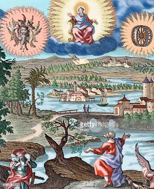Ezekiel Hebrew prophet Vision of Ezekiel Colored engraving