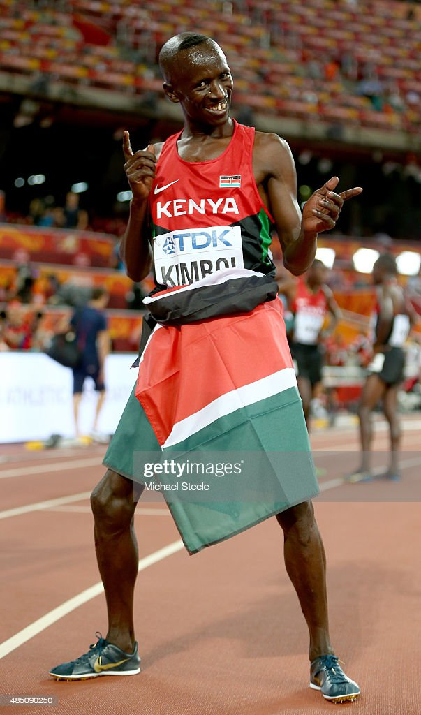 Ezekiel Kemboi of Kenya celebrates after winning gold in the Men's 3000 metres steeplechase final during day three of the 15th IAAF World Athletics Championships Beijing 2015 at Beijing National Stadium on August 24, 2015 in Beijing, China.