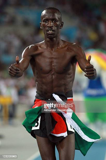 Ezekiel Kemboi of Kenya celebrates claiming gold in the men's 3000 metres steeplechase final during day six of the 13th IAAF World Athletics...