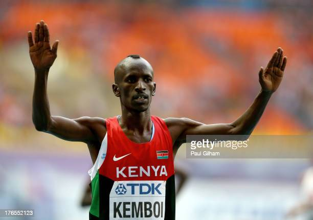 Ezekiel Kemboi of Kenya celebrates winning the gold in the Men's 3000 metres steeplechase final during Day Six of the 14th IAAF World Athletics...