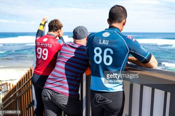 Ezekiel Lau is eliminated from the 2018 Margaret River Pro after placing second in Heat 9 of Round 2 at Main Break Margaret River WA Australia