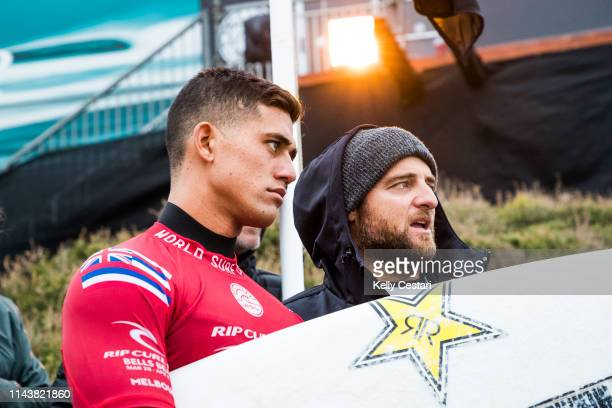 Ezekiel Lau was eliminated from the 2018 Rip Curl Pro Bells Beach after placing second in Quarterfinal 3 at Bells Beach VIC Australia
