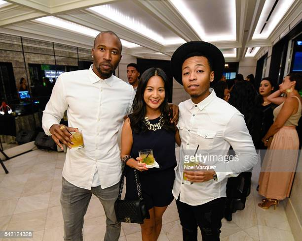 Ezekiel Lewis ThuyAnh J Nguyen and Kevin Ross attend the RapUp PreBET awards dinner presented by Hennessy at Hotel BelAir on June 21 2016 in Los...