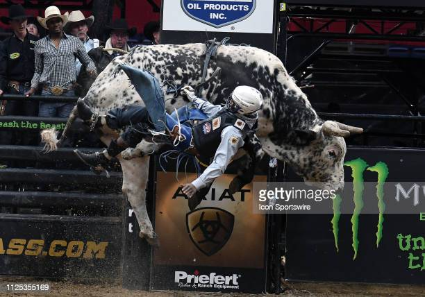 Ezekiel Mitchell is thrown from the bull Sosa's Alley Cat during the final round of the Professional Bullriders Mason Lowe Memorial on February 16 at...