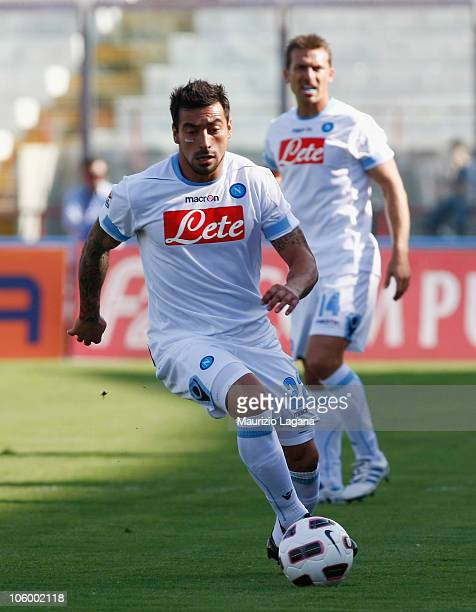 Ezequel Lavezzi of SSC Napoli with the ball during the Serie A match between Catania Calcio and SSC Napoli at Stadio Angelo Massimino on October 17...