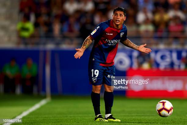 Ezequiel Avila during the match between SD Huesca against Rayo Vallecano at Alcoraz Stadium in Huesca Spain on September 14 2018