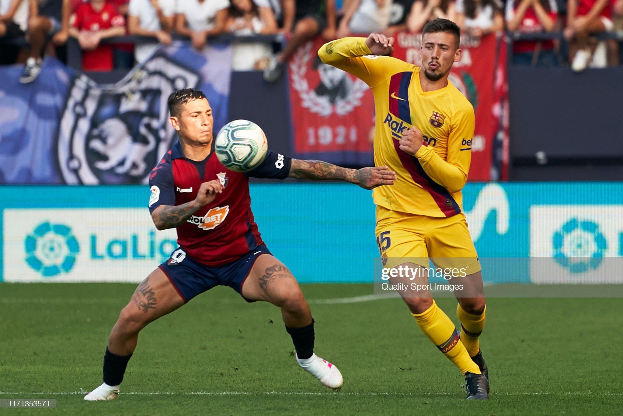 صور مباراة : أوساسونا - برشلونة 2-2 ( 31-08-2019 )  Ezequiel-avila-of-ca-osasuna-competes-for-the-ball-with-clement-of-picture-id1171353571?s=2048x2048