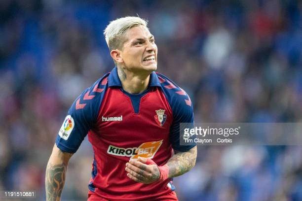 Ezequiel Avila of Osasuna reacts after a chance during the Espanyol V Osasuna La Liga regular season match at RCDE Stadium on December 1st 2019 in...