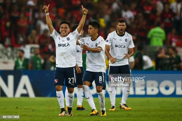 Ezequiel Barco and Meza of Independiente celebrates a scored goal during the Copa Sudamericana 2017 Final match between Flamengo and Independiente at...