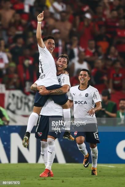 Ezequiel Barco Fernando Amorebieta and Diego Rodriguez of Independiente celebrates a scored goal during the Copa Sudamericana 2017 Final match...