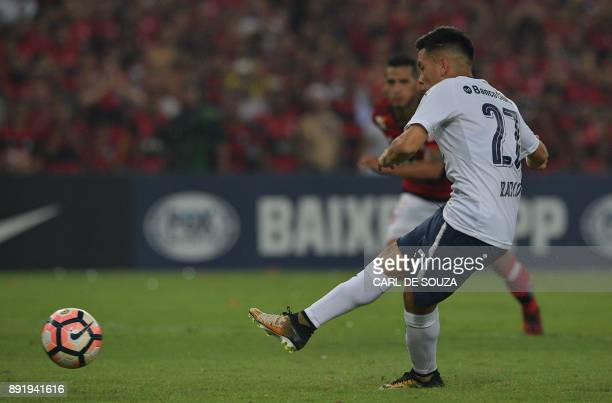 Ezequiel Barco of Argentina's Independiente shoots to score a penalty against Brazil's Flamengo during their Copa Sudamericana 2017 football final in...
