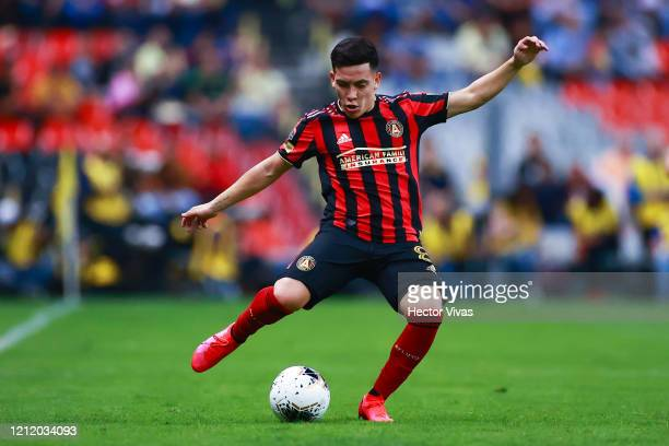 Ezequiel Barco of Atlanta United controls the ball during a quarter final first leg match between Club America and Atlanta United as part of CONCACAF...