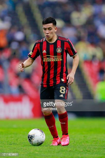 Ezequiel Barco of Atlanta United drives the ball during a quarter final first leg match between Club America and Atlanta United as part of CONCACAF...