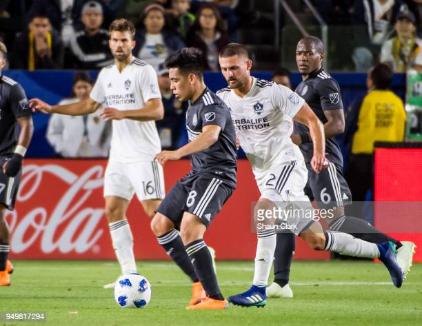 Ezequiel Barco of Atlanta United during the Los Angeles Galaxy's MLS match against Atlanta United FC at the StubHub Center on April 21 2018 in Carson...