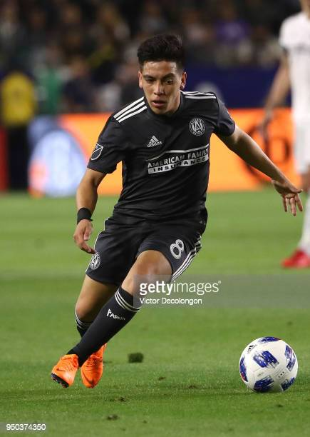 Ezequiel Barco of Atlanta United paces the ball on the attack during the first half of the MLS match at StubHub Center on April 21 2018 in Carson...