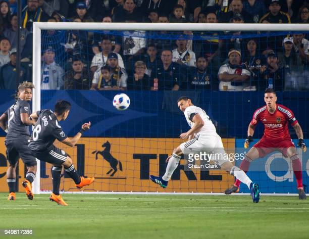 Ezequiel Barco of Atlanta United takes a shot on goal during the Los Angeles Galaxy's MLS match against Atlanta United FC at the StubHub Center on...
