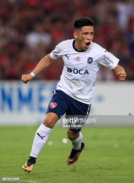 Ezequiel Barco of Independiente celebrates a scored goal during the second leg of the Copa Sudamericana 2017 final between Flamengo and Independiente...