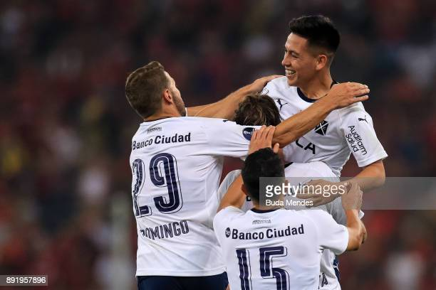 Ezequiel Barco of Independiente celebrates with his teammates a scored goal during the second leg of the Copa Sudamericana 2017 final between...