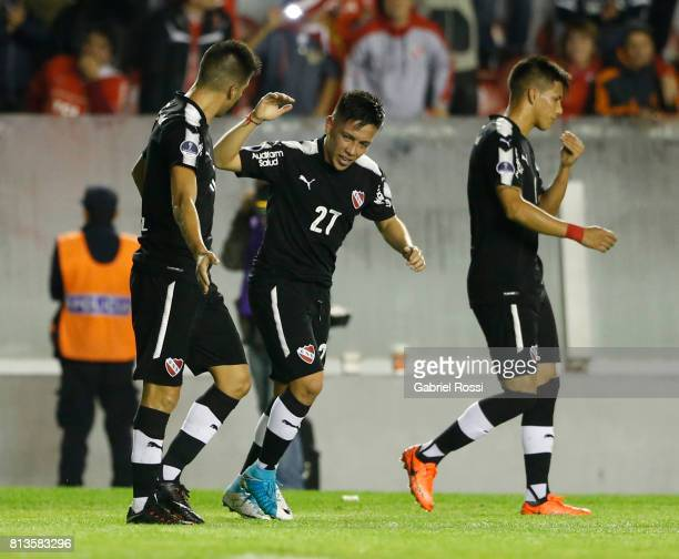 Ezequiel Barco of Independiente celebrates with teammates after scoring the second goal of his team during the first leg match between Independiente...