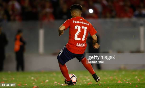 Ezequiel Barco of Independiente kicks the penalty to score the first goal of his team during a second leg match between Independiente and Libertad as...