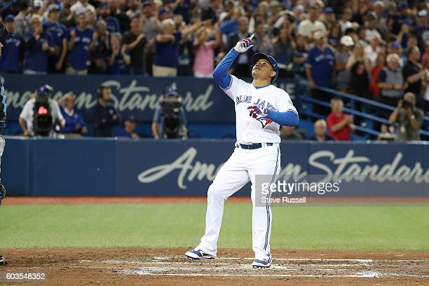 TORONTO ON SEPTEMBER 12 Ezequiel Carrera hits the game winning home run in the bottom of the eighth inning as the Toronto Blue Jays play the Tampa...