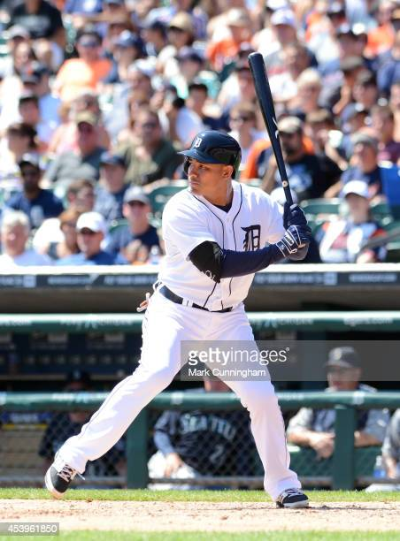 Ezequiel Carrera of the Detroit Tigers bats during the game against the Seattle Mariners at Comerica Park on August 17 2014 in Detroit Michigan The...