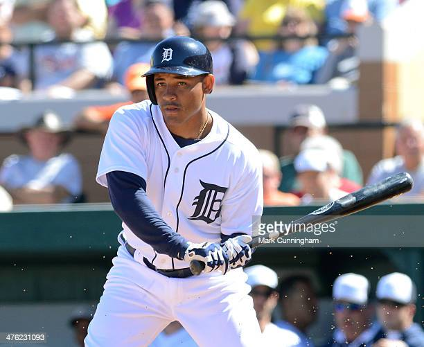 Ezequiel Carrera of the Detroit Tigers bats during the spring training game against the New York Yankees at Joker Marchant Stadium on February 28...