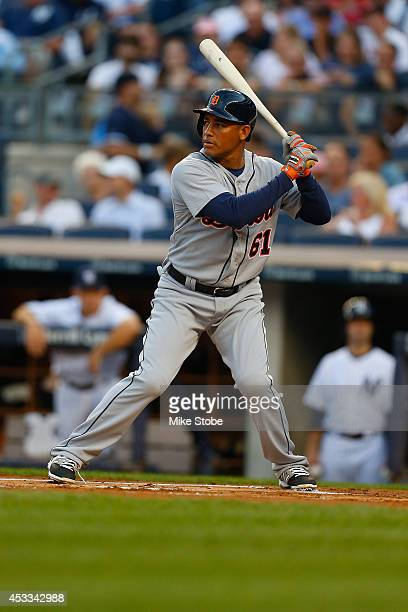 Ezequiel Carrera of the Detroit Tigers in action against the New York Yankees at Yankee Stadium on August 4 2014 in the Bronx borough of New York...