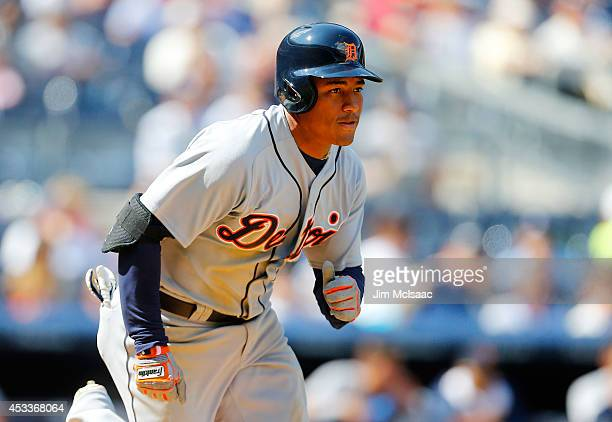 Ezequiel Carrera of the Detroit Tigers in action against the New York Yankees at Yankee Stadium on August 7 2014 in the Bronx borough of New York...