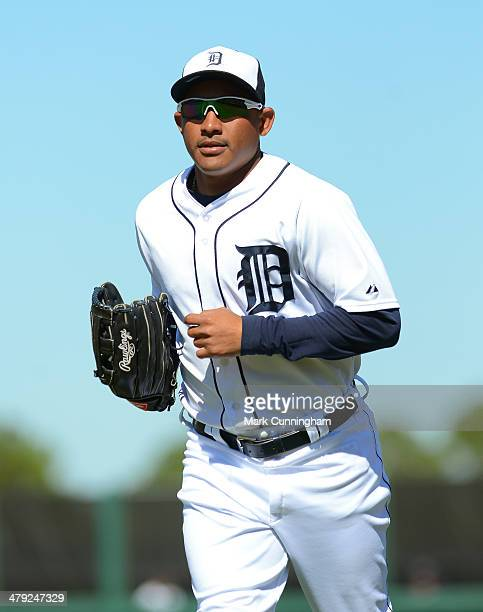 Ezequiel Carrera of the Detroit Tigers looks on during the spring training game against the Miami Marlins at Joker Marchant Stadium on March 13 2014...
