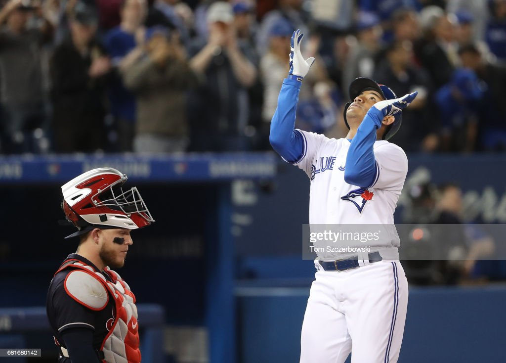 Ezequiel Carrera #3 of the Toronto Blue Jays celebrates after hitting a two-run home run in the fourth inning during MLB game action as Roberto Perez #55 of the Cleveland Indians looks on at Rogers Centre on May 10, 2017 in Toronto, Canada.