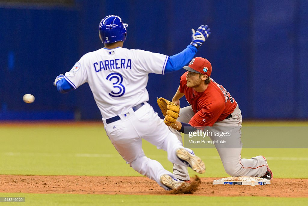 Ezequiel Carrera #3 of the Toronto Blue Jays is caught trying to steal second base by Josh Rutledge #32 of the Boston Red Sox in the bottom of the fourth during the MLB spring training game at Olympic Stadium on April 2, 2016 in Montreal, Quebec, Canada.